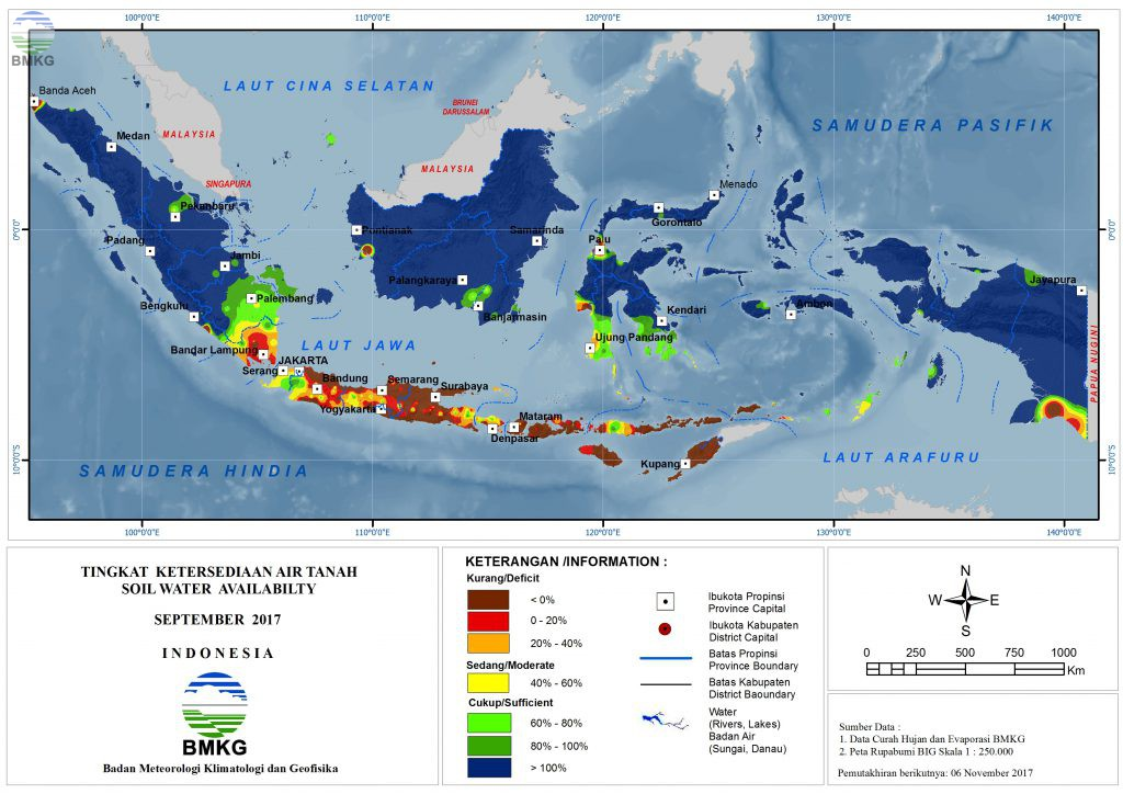 Ketersediaan Air Tanah di Indonesia September 2017 (Update Oktober 2017)