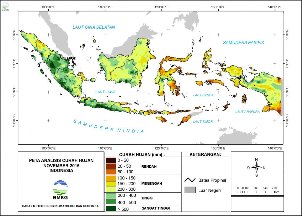 Analisis Curah Hujan dan Sifat Hujan Bulan November 2016