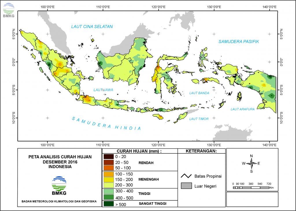 Analisis Curah Hujan dan Sifat Hujan Bulan Desember 2016