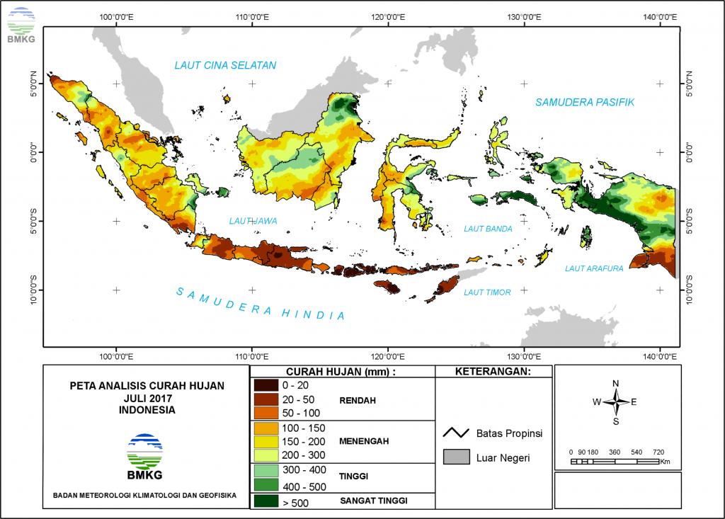 Analisis Curah Hujan dan Sifat Hujan Bulan Juli 2017