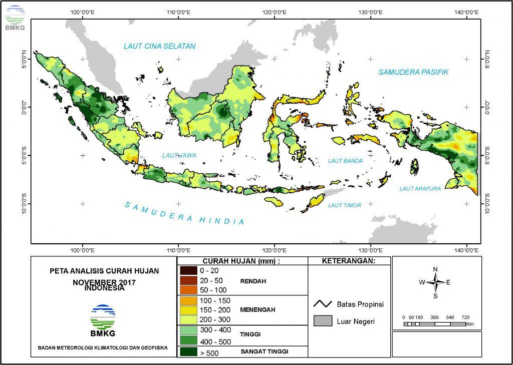 Analisis Curah Hujan dan Sifat Hujan Bulan November 2017