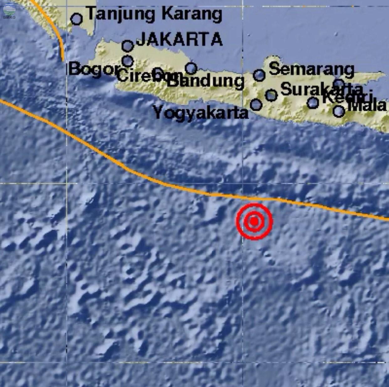 Gempabumi Tektonik M=5.0 Mengguncang Samudra Hindia Selatan Jawa, Tidak Berpotensi Tsunami