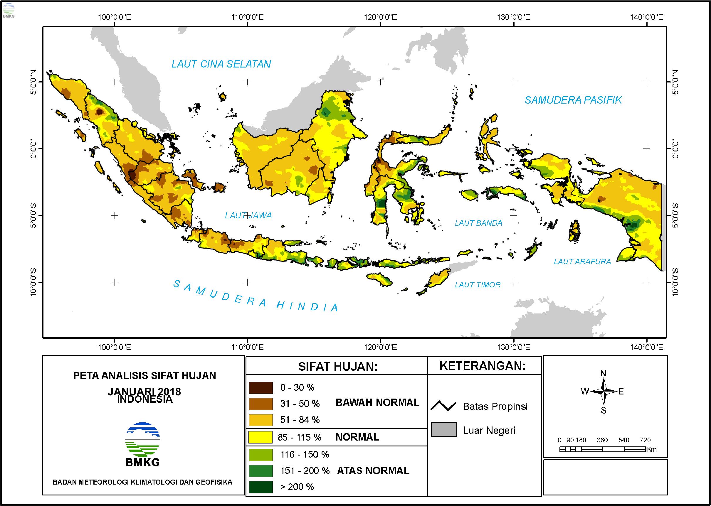 Analisis Curah Hujan dan Sifat Hujan Bulan Januari 2018