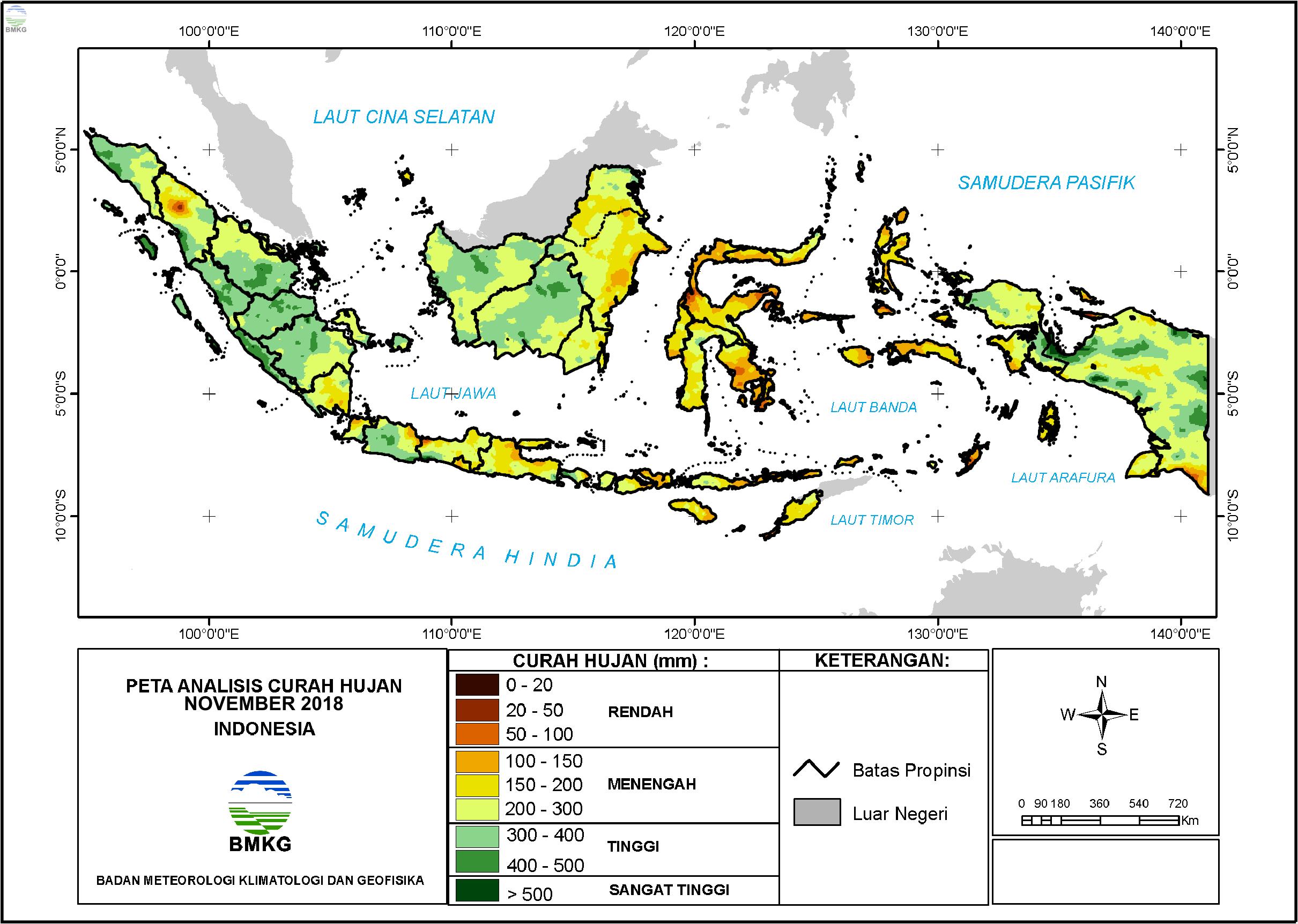Analisis Curah Hujan dan Sifat Hujan Bulan November 2018
