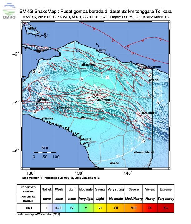 Penjelasan Terkait Gempabumi Tolikara Papua Berkekuatan M=5.6