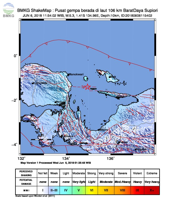Gempabumi Tektonik M=5.3 Mengguncang Kabupaten Manokwari, Tidak Berpotensi Tsunami