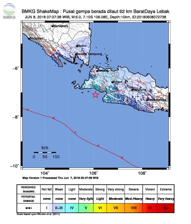 Gempabumi Tektonik M=5.0 Mengguncang Kabupaten Lebak dan Sukabumi, Tidak Berpotensi Tsunami