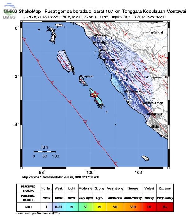Gempabumi Tektonik M=5.0 Mengguncang Kabupaten Kepulauan Mentawai, Tidak Berpotensi Tsunami