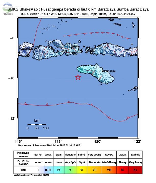 Gempabumi Tektonik M=5.4 Mengguncang Kabupaten Sumba Barat, Tidak Berpotensi Tsunami