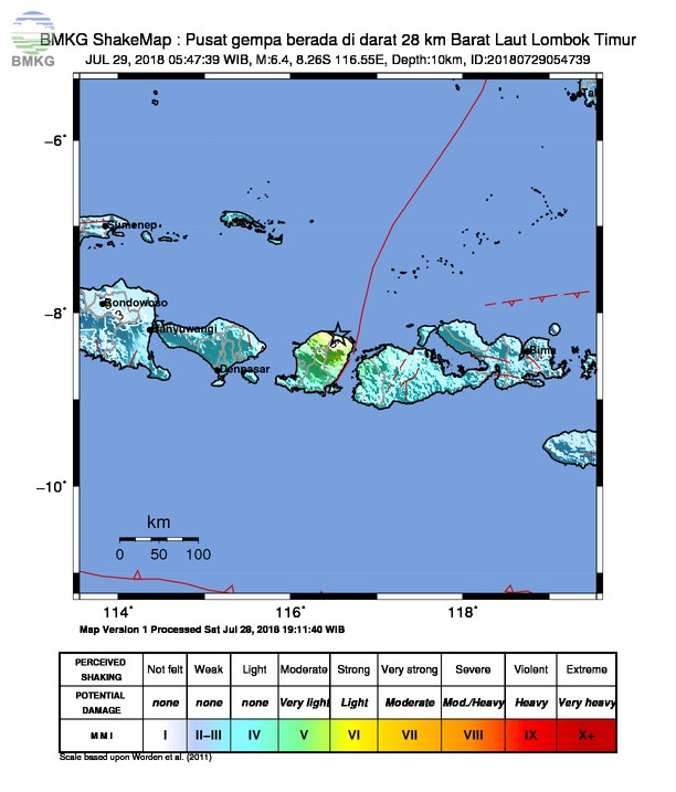 [Update] 66 Gempa Susulan Mengiringi Gempabumi Lombok M=6.4, Tidak Berpotensi Tsunami