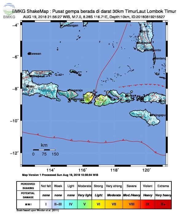 Pulau Lombok Kembali Diguncang Gempabumi M=7.0, Tidak Berpotensi Tsunami