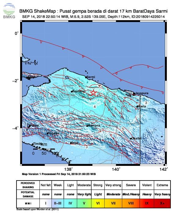 Gempabumi Tektonik M=5.9 Mengguncang Kabupaten Memberamo Raya