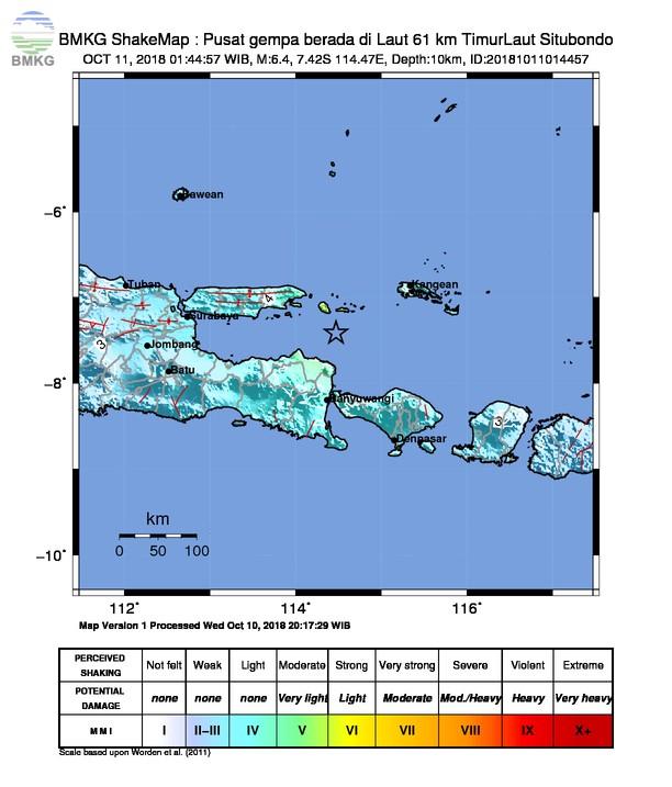 Gempabumi Tektonik M=6.4 Mengguncang Wilayah Jawa Timur dan Pulau Bali, Tidak Berpotensi Tsunami