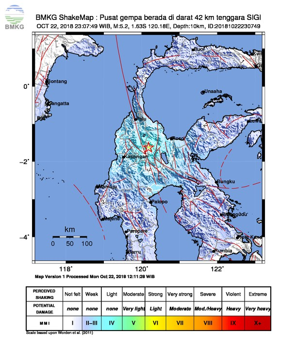Gempabumi Tektonik M=5.2 Mengguncang Kabupaten Poso