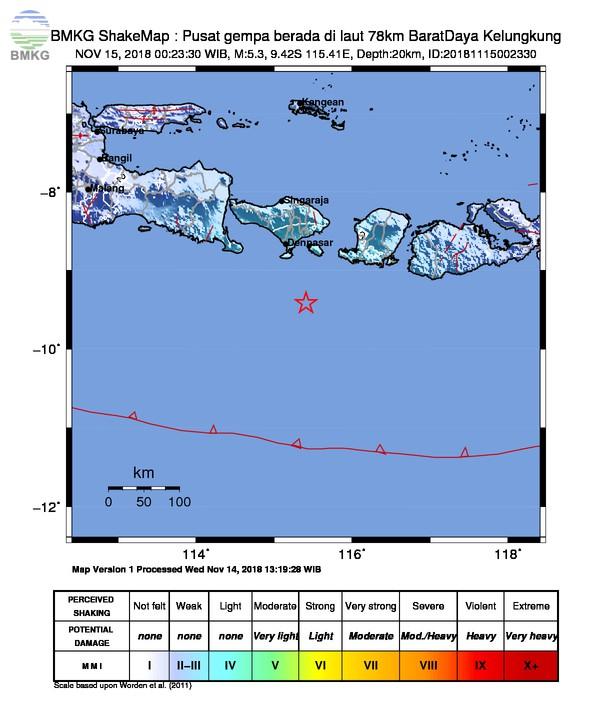 Gempabumi Tektonik M 5,3 Mengguncang Kota Denpasar, Tidak Berpotensi Tsunami