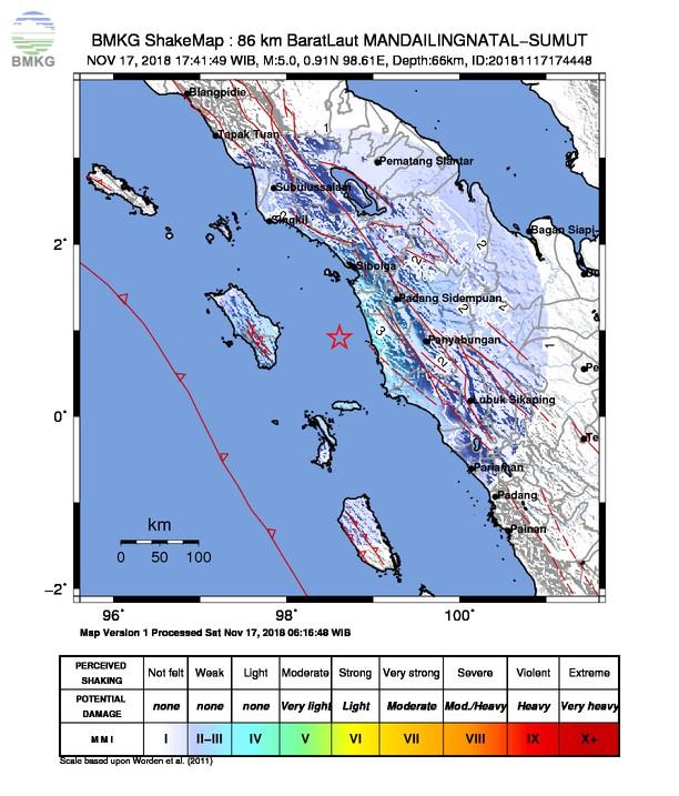 Gempabumi Tektonik M 5,0 Mengguncang Kabupaten Mandailing Natal, Tidak Berpotensi Tsunami