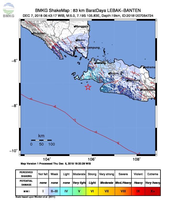 Gempabumi Tektonik M 5,0 Mengguncang Kabupaten Sukabumi, Tidak Berpotensi Tsunami