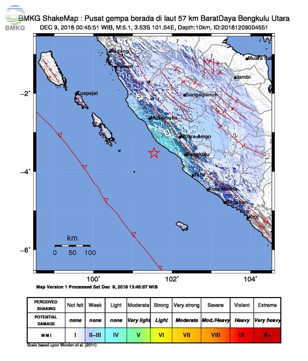 Gempabumi Tektonik M 5,1 Mengguncang Kota Bengkulu, Tidak Berpotensi Tsunami