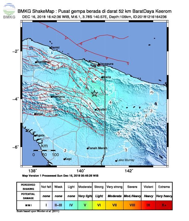 Gempabumi Tektonik M 6,1 Mengguncang Kabupaten Pegunungan Bintang, Tidak Berpotensi Tsunami