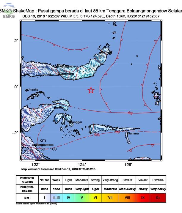 Gempabumi Tektonik M 5,3 Mengguncang Kabupaten Bolaang Mongondow, Tidak Berpotensi Tsunami