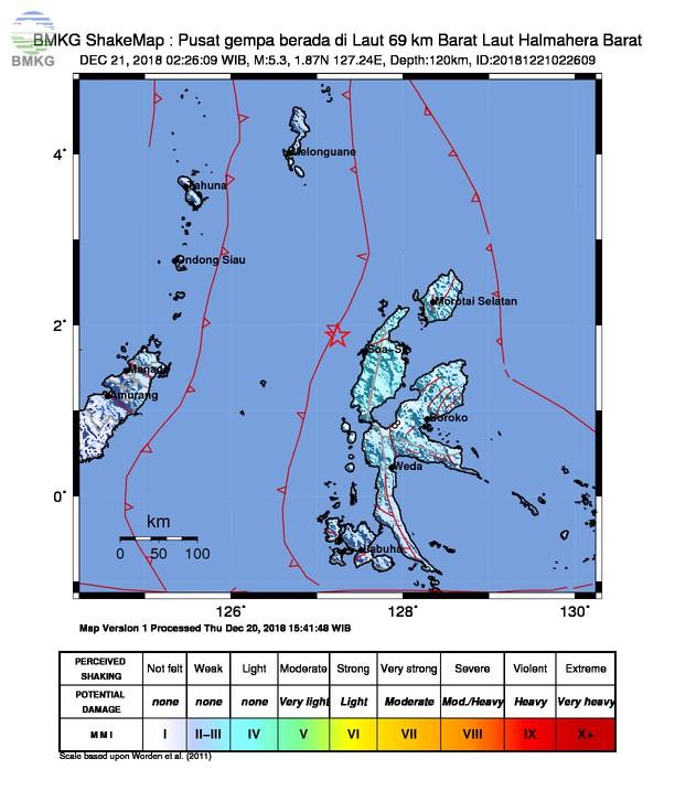 Gempabumi Tektonik M 5,4 Mengguncang Kabupaten Halmahera Utara, Tidak Berpotensi Tsunami