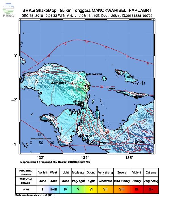Gempabumi Tektonik M 6,1 Mengguncang Kabupaten Manokwari Selatan, Tidak Berpotensi Tsunami