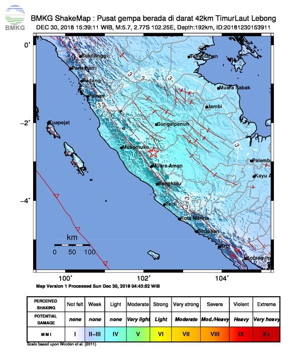 Gempabumi Tektonik M 5,7 Mengguncang Kabupaten Lebong, Tidak Berpotensi Tsunami