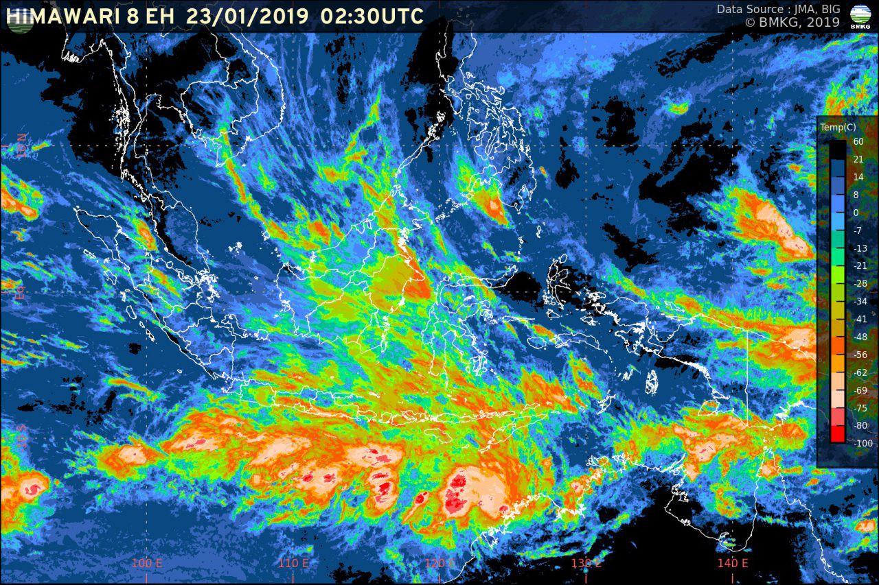 Waspada Hujan Lebat Akhir Januari 2019 (Potensi Bencana Hidrometeorologi di Beberapa Wilayah 23-30 Januari 2019)