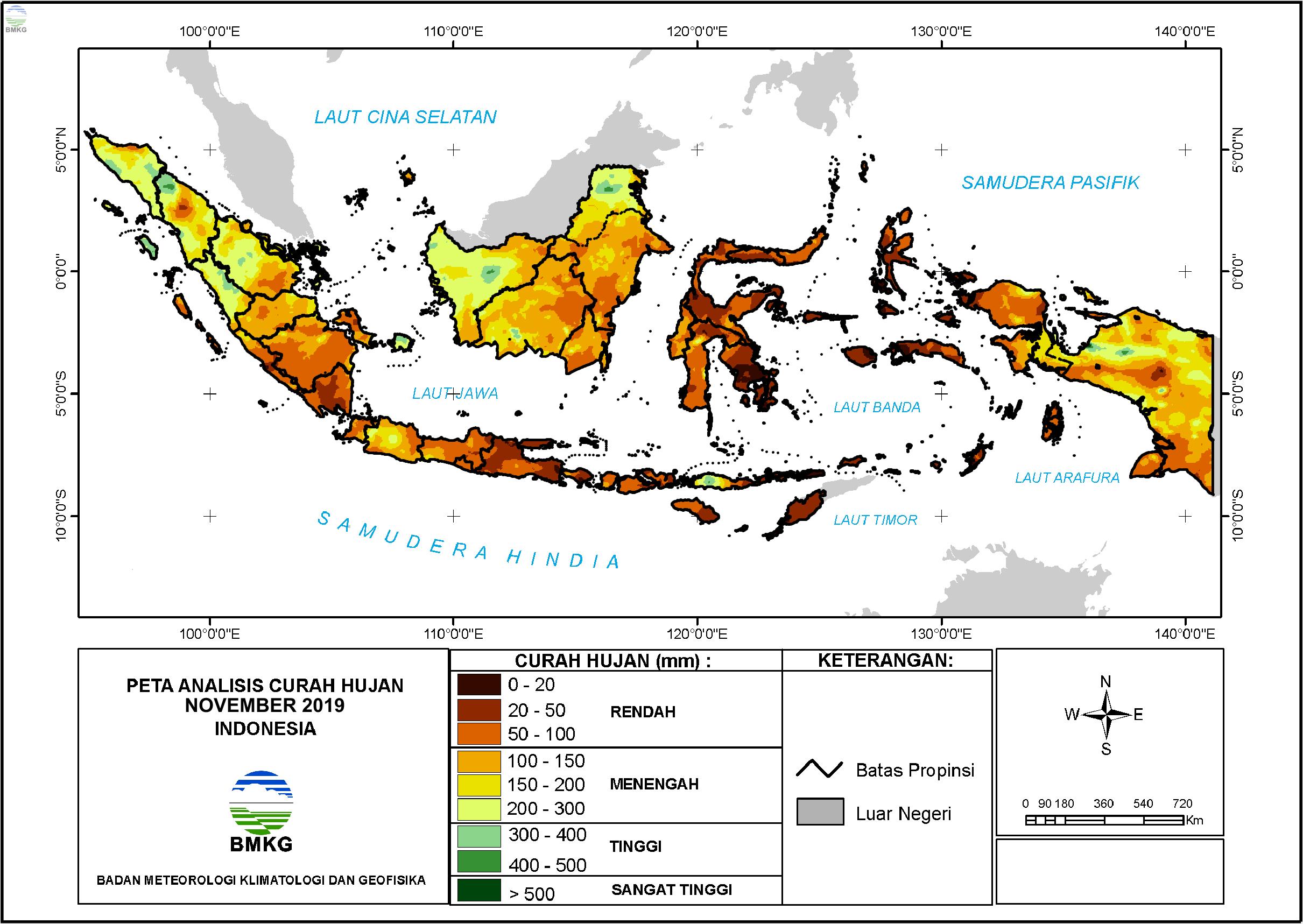 Analisis Curah Hujan dan Sifat Hujan Bulan November 2019
