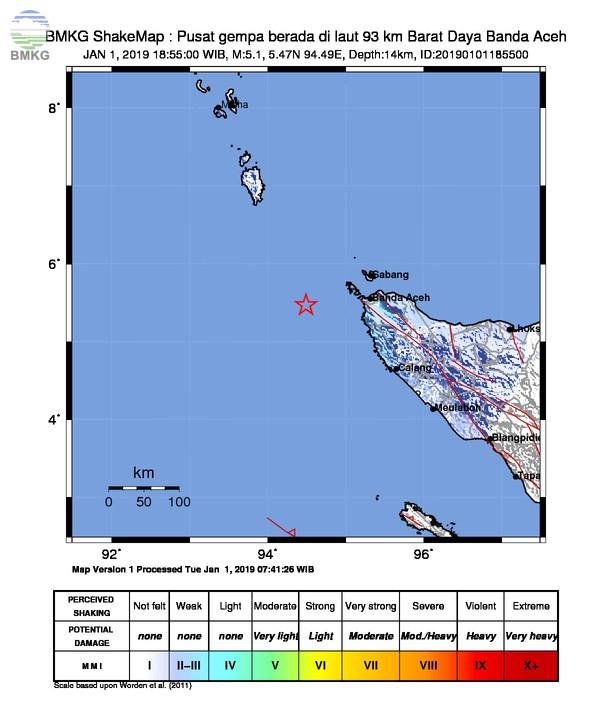 Gempabumi Tektonik M 5,1 Mengguncang Kota Banda Aceh, Tidak Berpotensi Tsunami