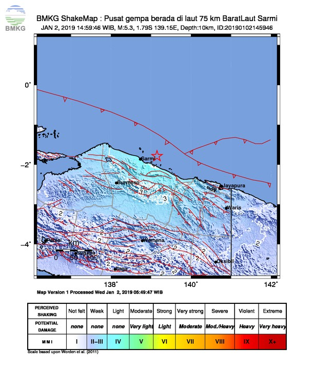 Gempabumi Tektonik M 5,3 Mengguncang Kabupaten Sarmi, Tidak Berpotensi Tsunami