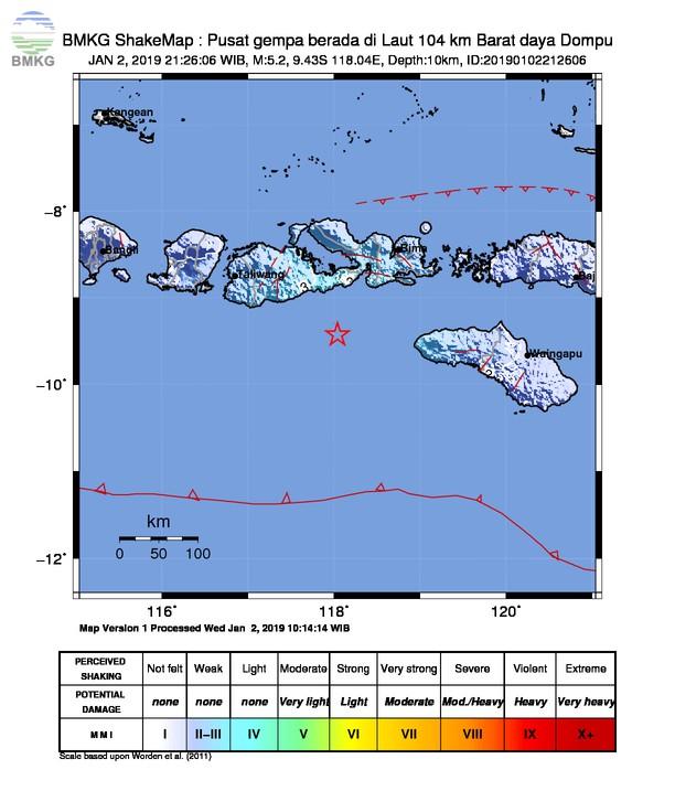 Gempabumi Tektonik M 5,2 Mengguncang Kabupaten Dompu, Tidak Berpotensi Tsunami