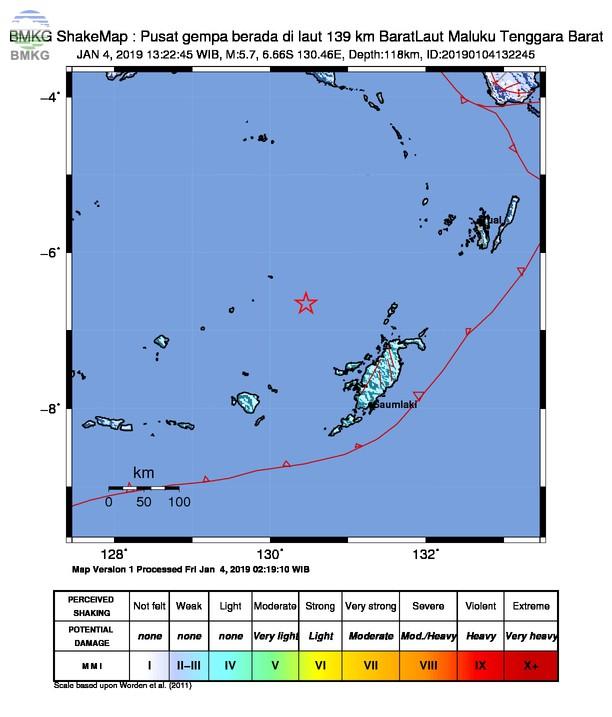 Gempabumi Tektonik M 5,7 Mengguncang Kabupaten Maluku Tenggara Barat, Tidak Berpotensi Tsunami