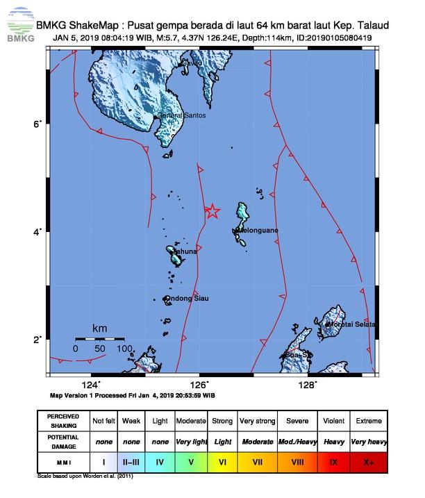 Gempabumi Tektonik M 5 7 Mengguncang Kabupaten Kepulauan Sangihe Tidak Berpotensi Tsunami Bmkg