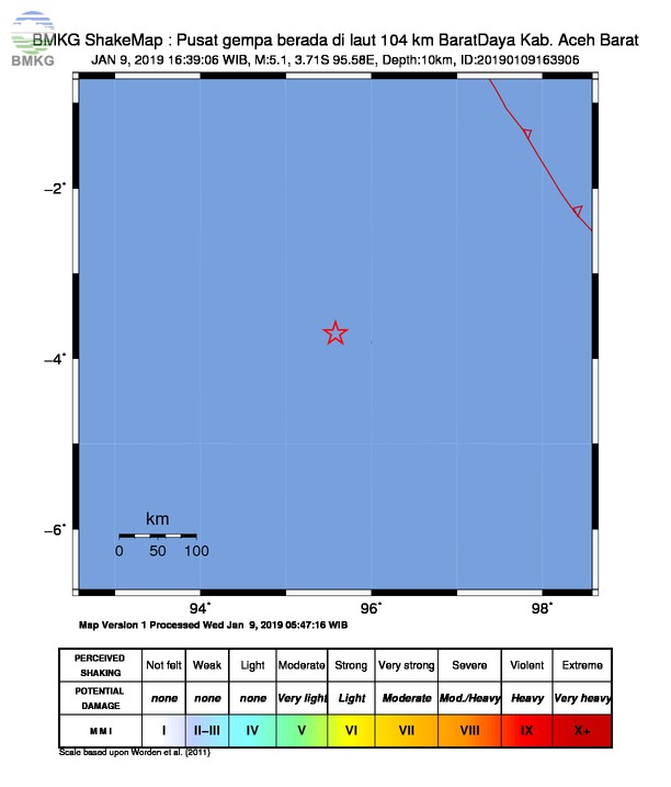 Gempabumi Tektonik M 5,1 Mengguncang Kabupaten Aceh Barat, Tidak Berpotensi Tsunami