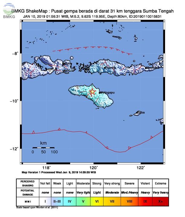 Gempabumi Tektonik M 5,2 Mengguncang Kabupaten Sumba Tengah, Tidak Berpotensi Tsunami