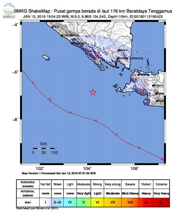 Gempabumi Tektonik M 5,0 Terjadi di Zona Megathrust Selatan Selat Sunda, Tidak Berpotensi Tsunami
