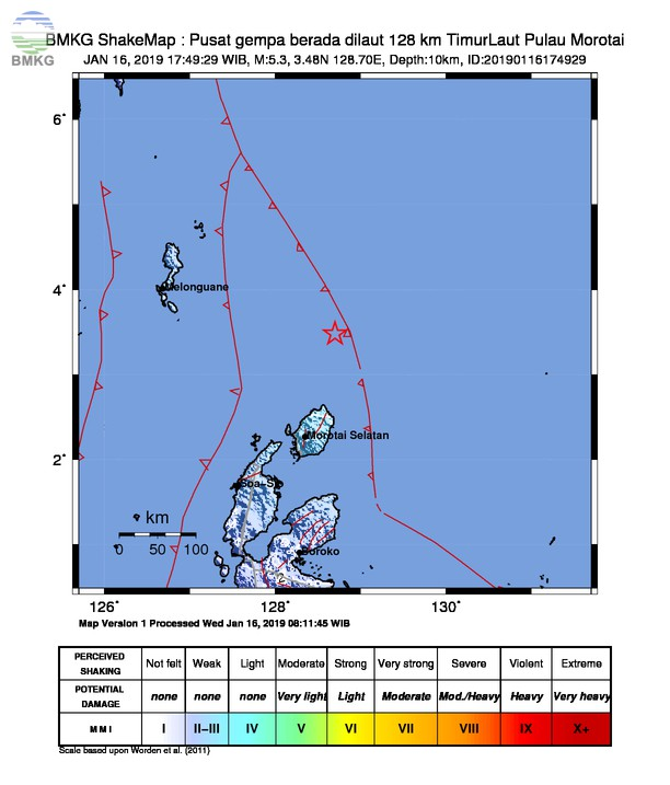 Gempabumi Tektonik M 5,3 Mengguncang Kabupaten Morotai, Tidak Berpotensi Tsunami