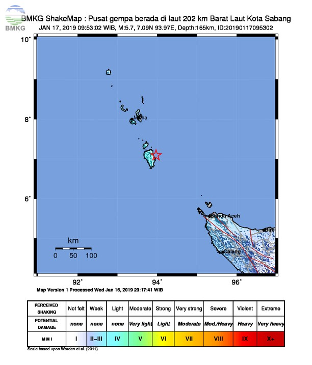 Gempabumi Tektonik M 5,7 Mengguncang Kota Sabang, Tidak Berpotensi Tsunami