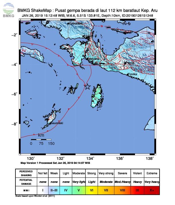 Gempabumi Tektonik M 5,9 Mengguncang Kepulauan Aru, Tidak Berpotensi Tsunami di Wilayah Indonesia