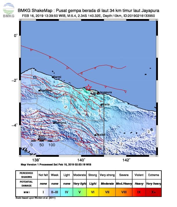 Gempabumi Tektonik M 5,4 Mengguncang Kabupaten Jayapura, Tidak Berpotensi Tsunami