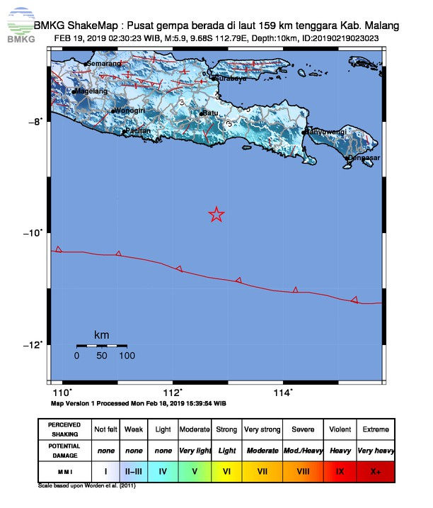 Gempabumi Tektonik M 5,9 Mengguncang Kabupaten Malang, Tidak Berpotensi Tsunami