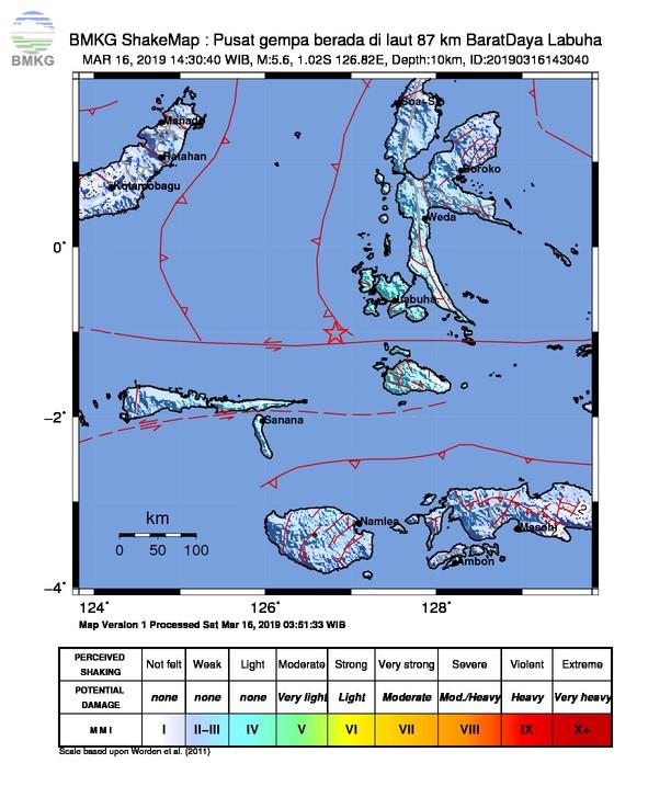 Gempabumi Tektonik M 5,6 Mengguncang Kabupaten Halmahera Selatan, Tidak Berpotensi Tsunami