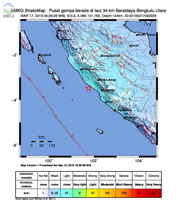 Gempabumi Tektonik M 5 5 Mengguncang Kabupaten Bengkulu Utara Tidak Berpotensi Tsunami Bmkg