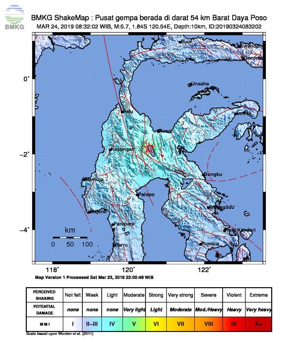 Gempabumi Tektonik M 5,7 Mengguncang Kabupaten Poso, Tidak Berpotensi Tsunami