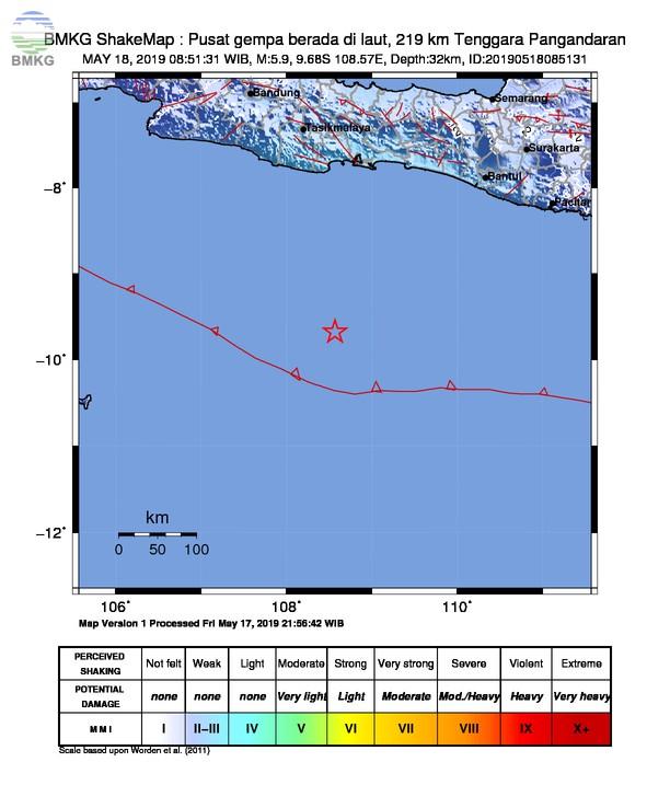 Gempabumi Tektonik M 5,9 Mengguncang Kabupaten Pangandaran, Tidak Berpotensi Tsunami