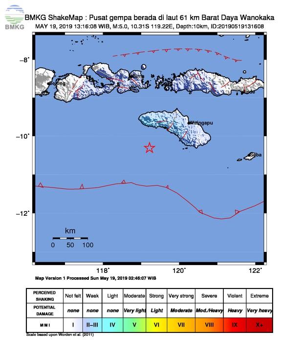 Gempabumi Tektonik M 5,0 Mengguncang Kabupaten Sumba Barat, Tidak Berpotensi Tsunami