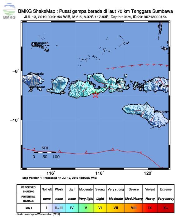 Gempabumi Tektonik M 5,5 Mengguncang Kabupaten Sumbawa, Tidak Berpotensi Tsunami
