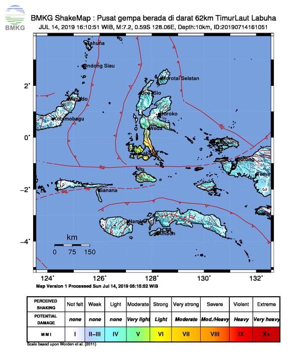 61 Gempa Susulan Setelah Gempabumi M 7,2 Kabupaten Halmahera Selatan