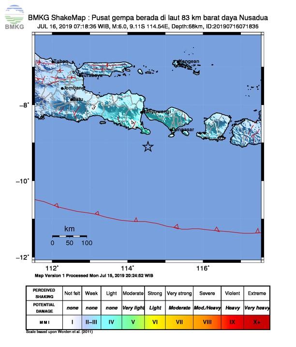 Gempabumi Tektonik M 6,0 Mengguncang Kabupaten Jembrana, Tidak Berpotensi Tsunami
